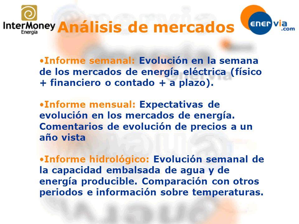 Informe semanal: Evolución en la semana de los mercados de energía eléctrica (físico + financiero o contado + a plazo).