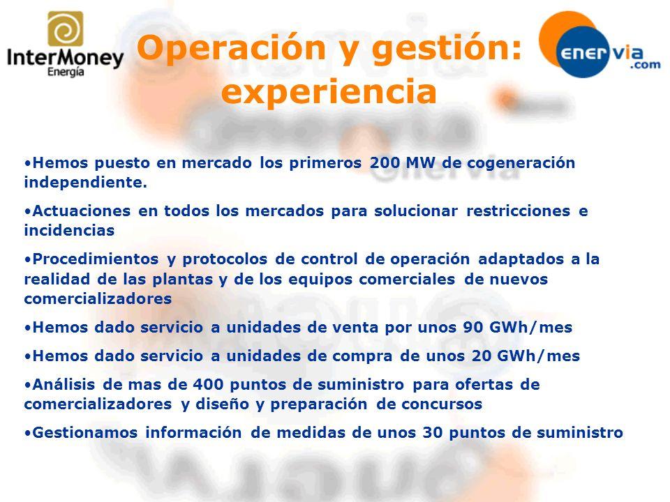 Operación y gestión: experiencia Hemos puesto en mercado los primeros 200 MW de cogeneración independiente.