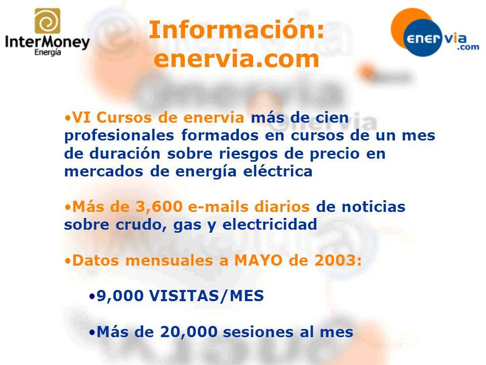 VI Cursos de enervia más de cien profesionales formados en cursos de un mes de duración sobre riesgos de precio en mercados de energía eléctrica Más de 3,600 e-mails diarios de noticias sobre crudo, gas y electricidad Datos mensuales a MAYO de 2003: 9,000 VISITAS/MES Más de 20,000 sesiones al mes