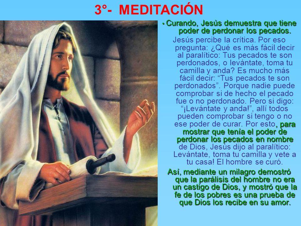 3°- MEDITACIÓN Jesús es acusado de blasfemia por los dueños del poder. Jesús es acusado de blasfemia por los dueños del poder. ¡Este se burla de Dios!