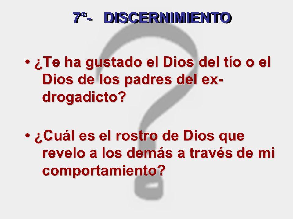 La Palabra confrontada. Prolongo la escucha, discierno. Analizo. Distingo cuál es la voluntad de Dios... Me pregunto : SEPTIMA ETAPA : DISCERNIMIENTO