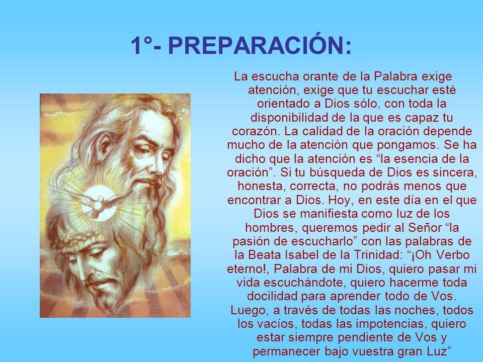 1°- PREPARACIÓN: La escucha orante de la Palabra exige atención, exige que tu escuchar esté orientado a Dios sólo, con toda la disponibilidad de la que es capaz tu corazón.