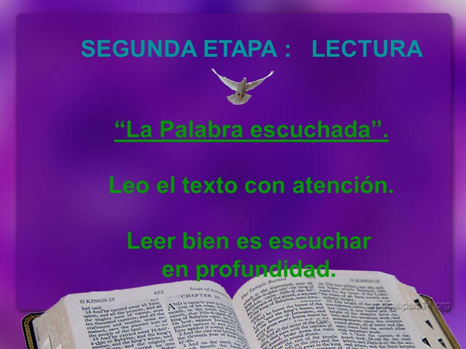 SEGUNDA ETAPA : LECTURA La Palabra escuchada.Leo el texto con atención.