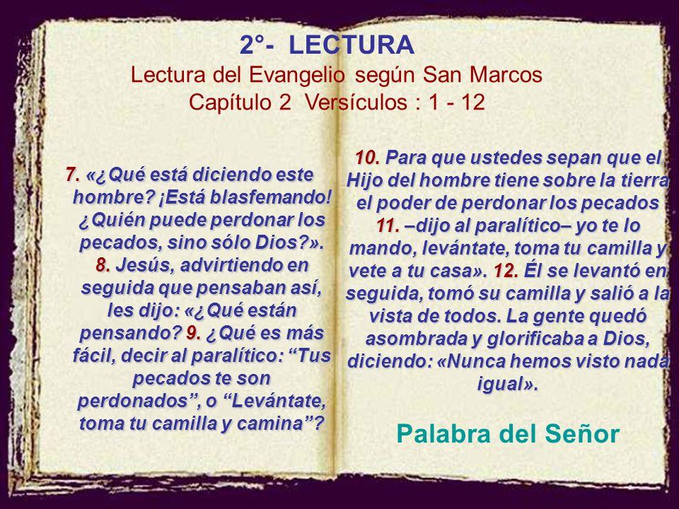 Curación de un paralítico 1. Unos días después, Jesús volvió a Cafarnaún y se difundió la noticia de que estaba en la casa. 2. Se reunió tanta gente,