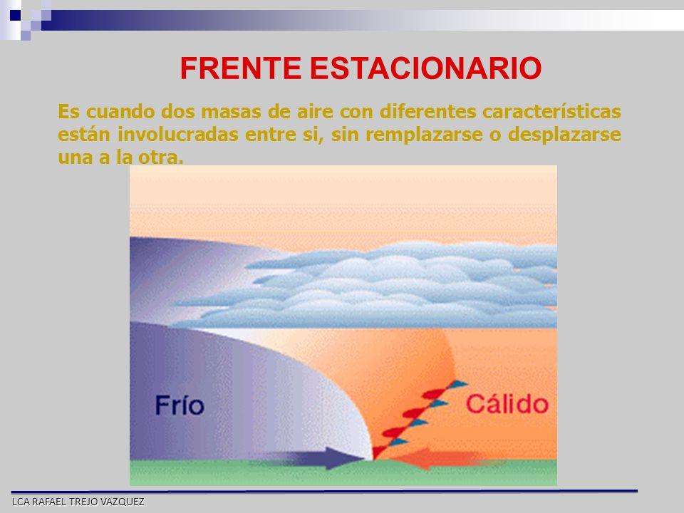 LCA RAFAEL TREJO VAZQUEZ FRENTE ESTACIONARIO Es cuando dos masas de aire con diferentes características están involucradas entre si, sin remplazarse o