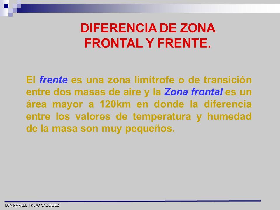 LCA RAFAEL TREJO VAZQUEZ DIFERENCIA DE ZONA FRONTAL Y FRENTE. El frente es una zona limítrofe o de transición entre dos masas de aire y la Zona fronta