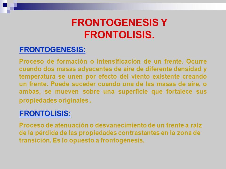 FRONTOGENESIS Y FRONTOLISIS. FRONTOGENESIS: Proceso de formación o intensificación de un frente. Ocurre cuando dos masas adyacentes de aire de diferen