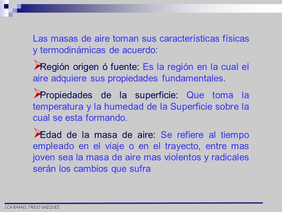 LCA RAFAEL TREJO VAZQUEZ Las masas de aire toman sus características físicas y termodinámicas de acuerdo: Región origen ó fuente: Es la región en la c