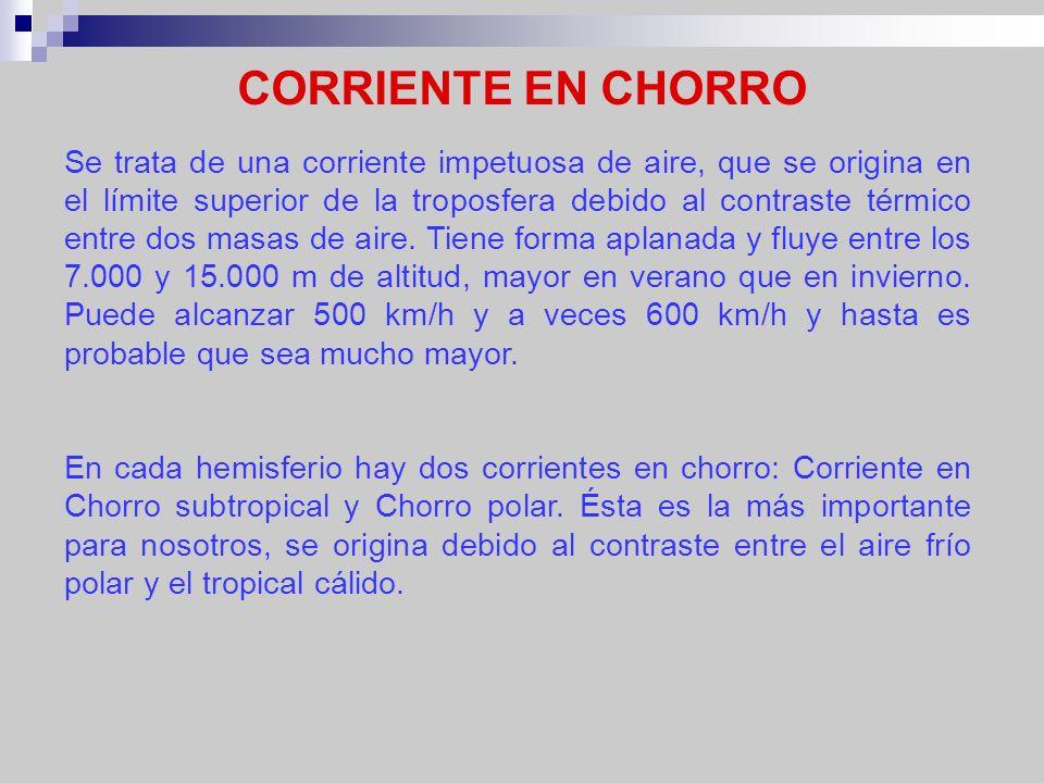 CORRIENTE EN CHORRO Se trata de una corriente impetuosa de aire, que se origina en el límite superior de la troposfera debido al contraste térmico ent