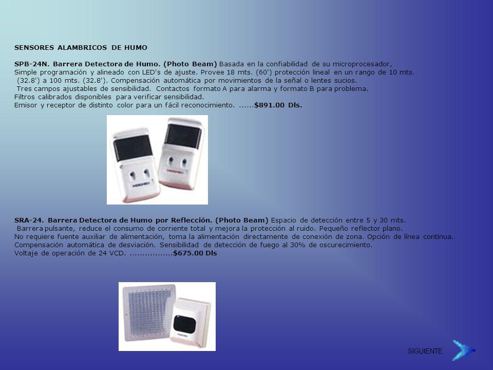 SIGUIENTE SENSORES ALAMBRICOS DE HUMO SPB-24N.Barrera Detectora de Humo.