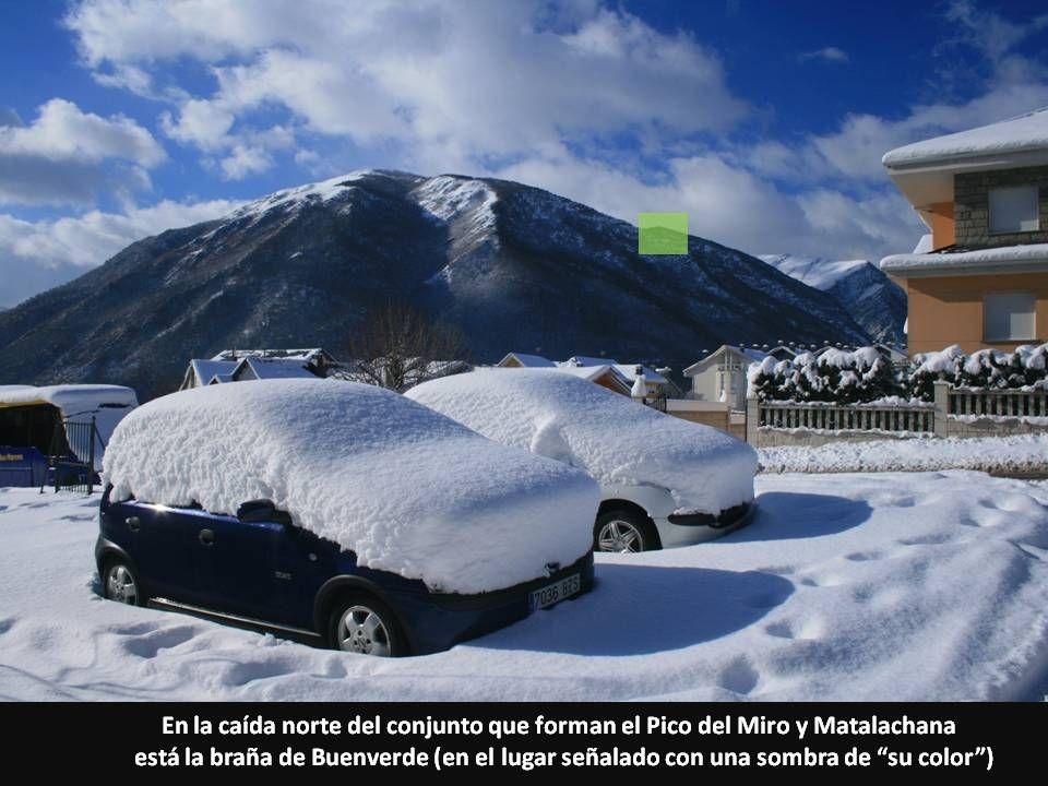 En la caída norte del conjunto que forman el Pico del Miro y Matalachana está la braña de Buenverde (en el lugar señalado con una sombra de su color)