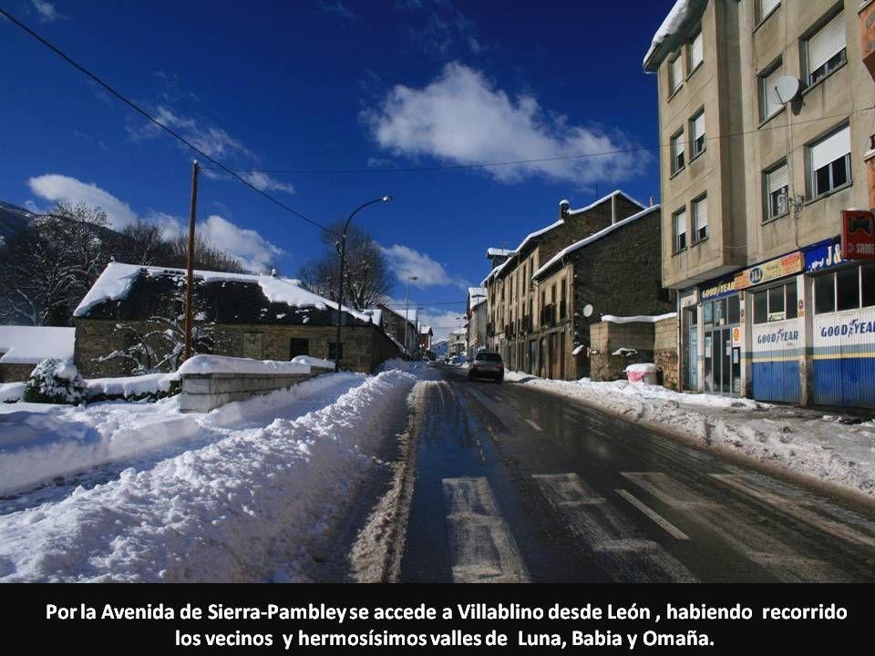 Por la Avenida de Sierra-Pambley se accede a Villablino desde León, habiendo recorrido los vecinos y hermosísimos valles de Luna, Babia y Omaña.