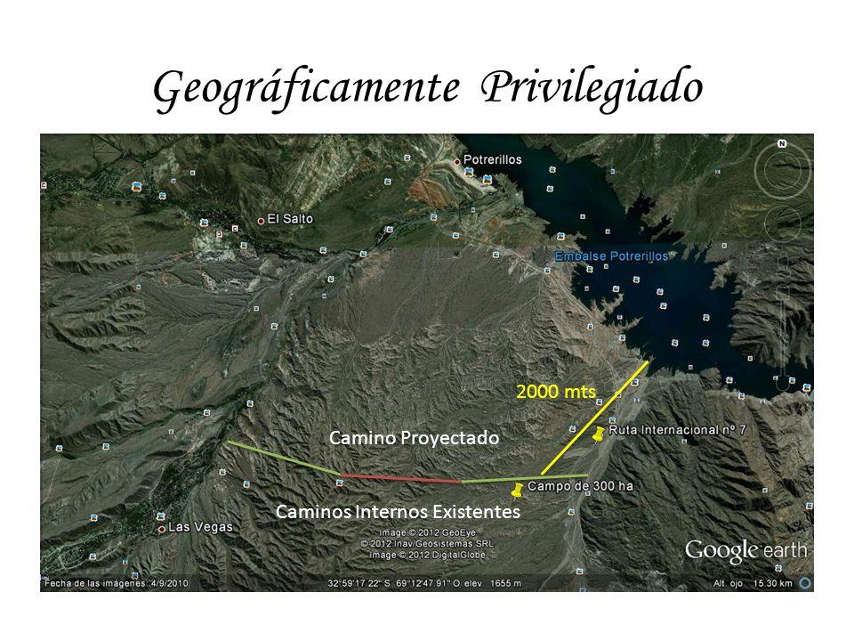 Geográficamente Privilegiado 2000 mts Caminos Internos Existentes Camino Proyectado