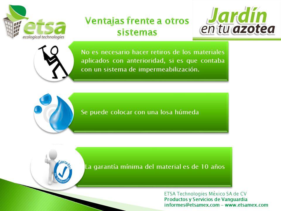ETSA Technologies México SA de CV Productos y Servicios de Vanguardia informes@etsamex.com - www.etsamex.com No es necesario hacer retiros de los materiales aplicados con anterioridad, si es que contaba con un sistema de impermeabilización.