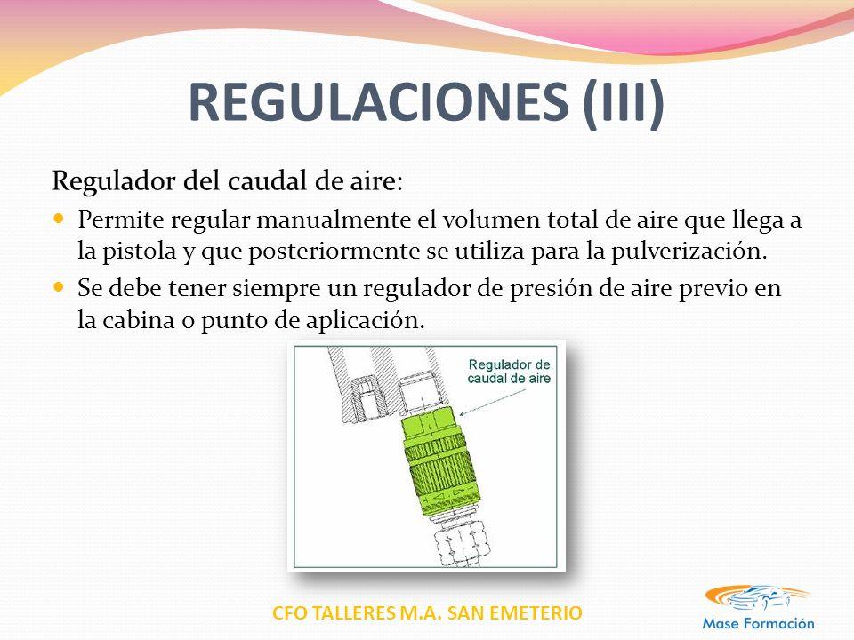 CFO TALLERES M.A. SAN EMETERIO REGULACIONES (III) Regulador del caudal de aire: Permite regular manualmente el volumen total de aire que llega a la pi