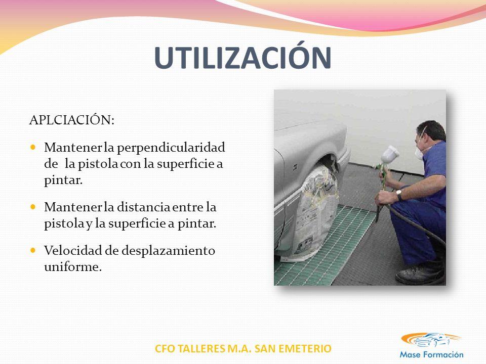 CFO TALLERES M.A. SAN EMETERIO UTILIZACIÓN APLCIACIÓN: Mantener la perpendicularidad de la pistola con la superficie a pintar. Mantener la distancia e