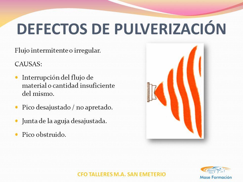 CFO TALLERES M.A. SAN EMETERIO DEFECTOS DE PULVERIZACIÓN Flujo intermitente o irregular. CAUSAS: Interrupción del flujo de material o cantidad insufic