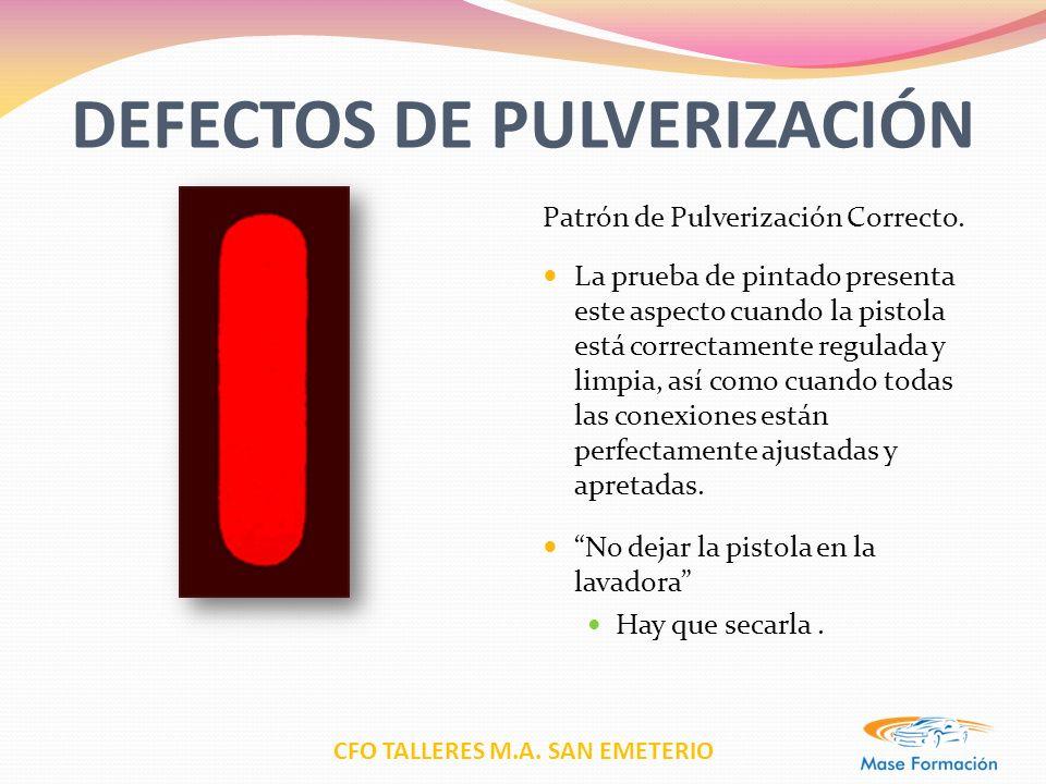 CFO TALLERES M.A. SAN EMETERIO DEFECTOS DE PULVERIZACIÓN Patrón de Pulverización Correcto. La prueba de pintado presenta este aspecto cuando la pistol