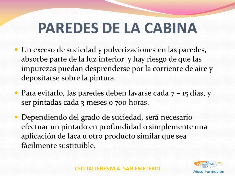 CFO TALLERES M.A. SAN EMETERIO PAREDES DE LA CABINA Un exceso de suciedad y pulverizaciones en las paredes, absorbe parte de la luz interior y hay rie