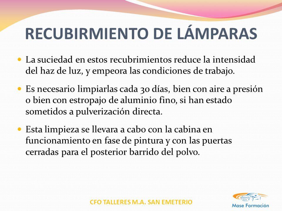 CFO TALLERES M.A. SAN EMETERIO RECUBIRMIENTO DE LÁMPARAS La suciedad en estos recubrimientos reduce la intensidad del haz de luz, y empeora las condic
