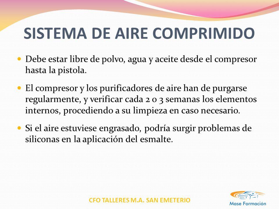 CFO TALLERES M.A. SAN EMETERIO SISTEMA DE AIRE COMPRIMIDO Debe estar libre de polvo, agua y aceite desde el compresor hasta la pistola. El compresor y
