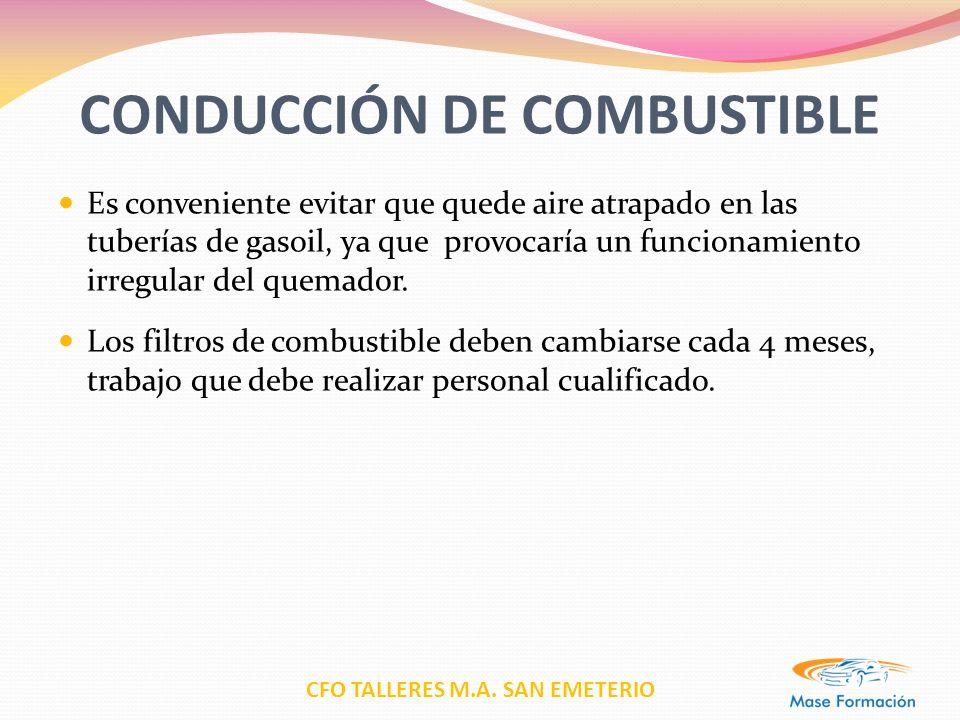 CFO TALLERES M.A. SAN EMETERIO CONDUCCIÓN DE COMBUSTIBLE Es conveniente evitar que quede aire atrapado en las tuberías de gasoil, ya que provocaría un