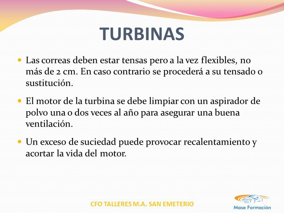 CFO TALLERES M.A. SAN EMETERIO TURBINAS Las correas deben estar tensas pero a la vez flexibles, no más de 2 cm. En caso contrario se procederá a su te