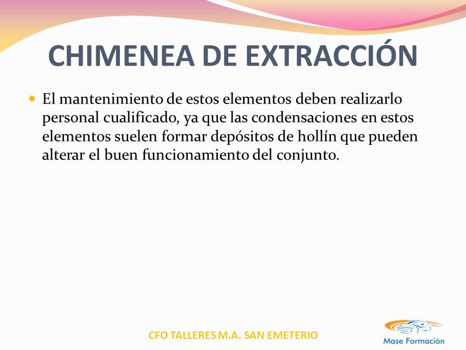 CFO TALLERES M.A. SAN EMETERIO CHIMENEA DE EXTRACCIÓN El mantenimiento de estos elementos deben realizarlo personal cualificado, ya que las condensaci