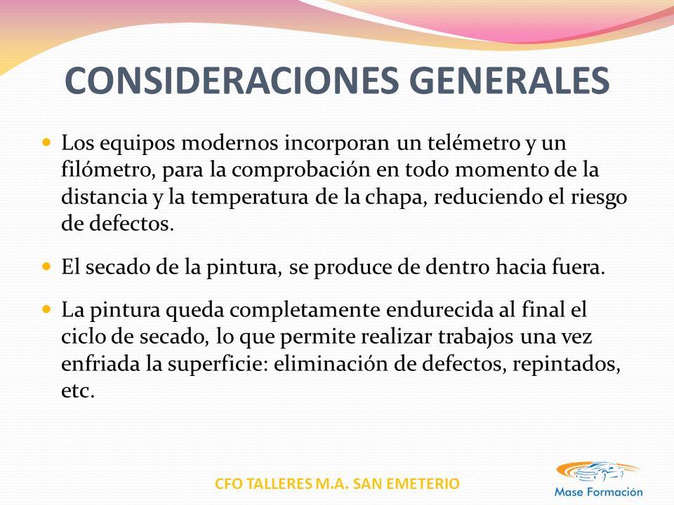 CFO TALLERES M.A. SAN EMETERIO CONSIDERACIONES GENERALES Los equipos modernos incorporan un telémetro y un filómetro, para la comprobación en todo mom