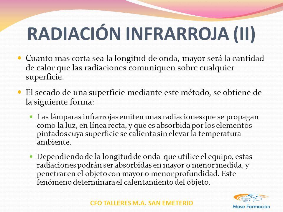 CFO TALLERES M.A. SAN EMETERIO RADIACIÓN INFRARROJA (II) Cuanto mas corta sea la longitud de onda, mayor será la cantidad de calor que las radiaciones