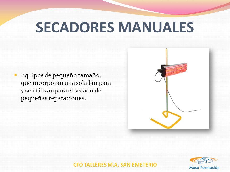 CFO TALLERES M.A. SAN EMETERIO SECADORES MANUALES Equipos de pequeño tamaño, que incorporan una sola lámpara y se utilizan para el secado de pequeñas