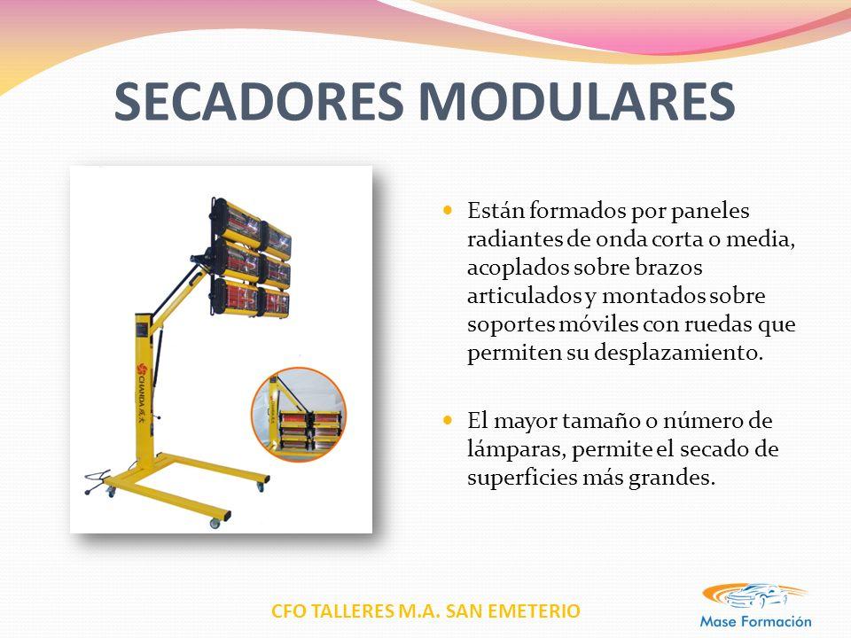 CFO TALLERES M.A. SAN EMETERIO SECADORES MODULARES Están formados por paneles radiantes de onda corta o media, acoplados sobre brazos articulados y mo