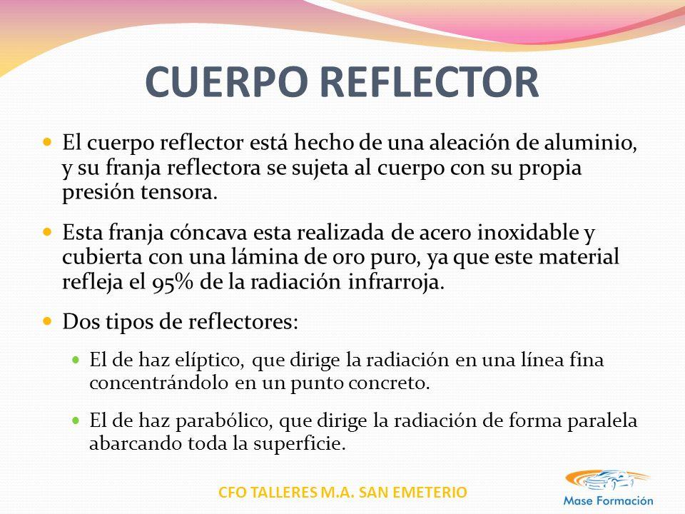 CFO TALLERES M.A. SAN EMETERIO CUERPO REFLECTOR El cuerpo reflector está hecho de una aleación de aluminio, y su franja reflectora se sujeta al cuerpo