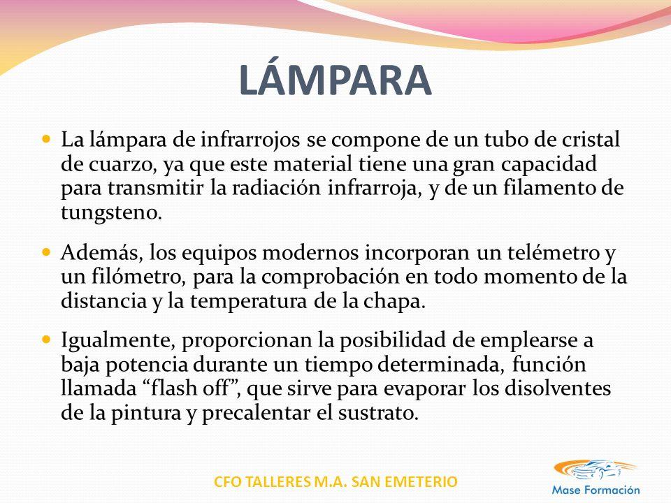 CFO TALLERES M.A. SAN EMETERIO LÁMPARA La lámpara de infrarrojos se compone de un tubo de cristal de cuarzo, ya que este material tiene una gran capac