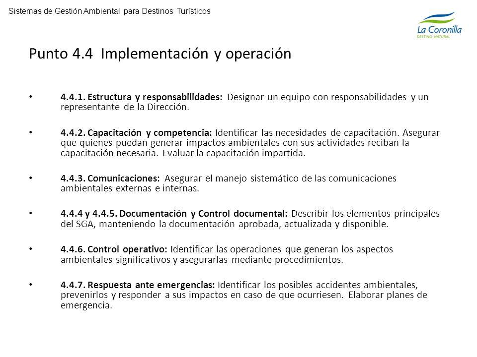 Punto 4.4 Implementación y operación 4.4.1.