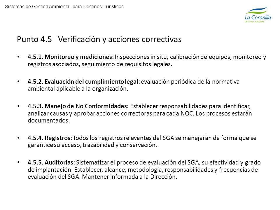 Punto 4.5 Verificación y acciones correctivas 4.5.1.