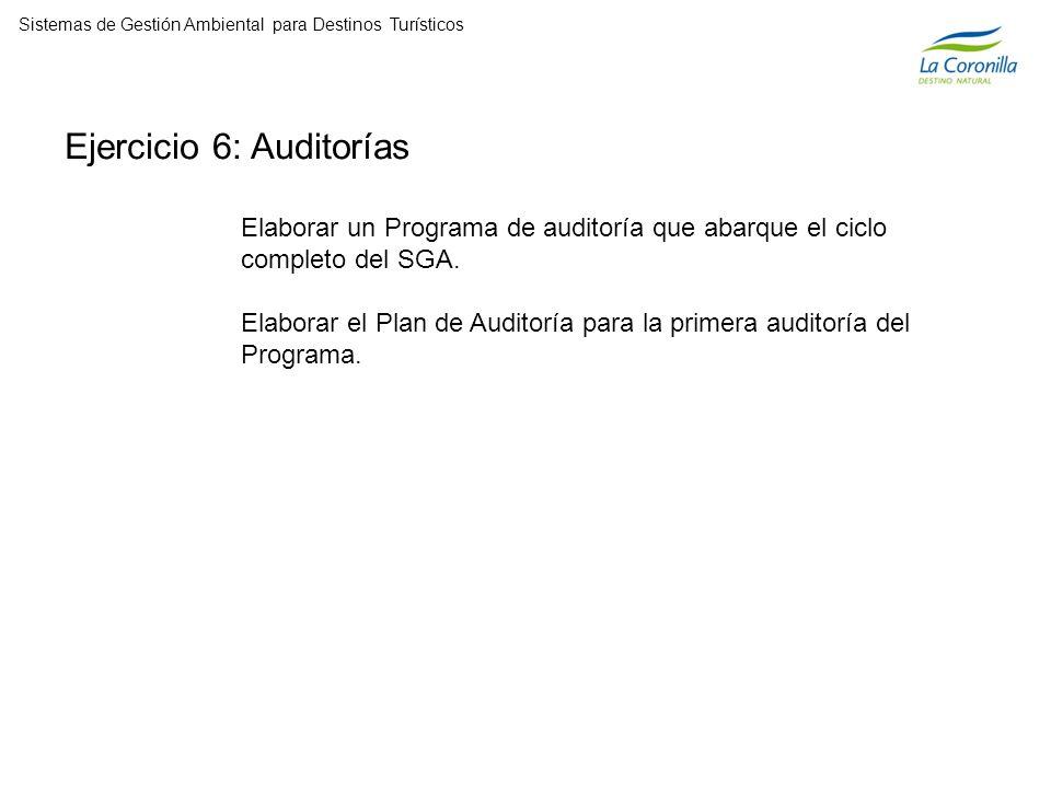 Ejercicio 6: Auditorías Elaborar un Programa de auditoría que abarque el ciclo completo del SGA.
