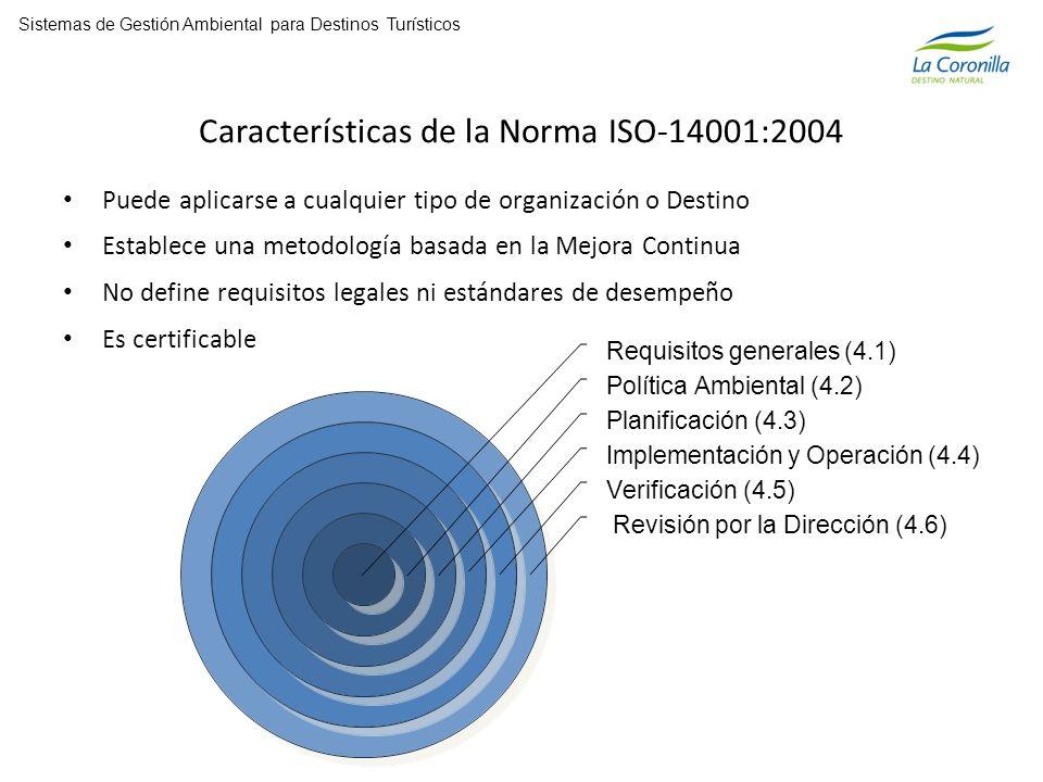 Características de la Norma ISO-14001:2004 Puede aplicarse a cualquier tipo de organización o Destino Establece una metodología basada en la Mejora Continua No define requisitos legales ni estándares de desempeño Es certificable Requisitos generales (4.1) Política Ambiental (4.2) Planificación (4.3) Implementación y Operación (4.4) Verificación (4.5) Sistemas de Gestión Ambiental para Destinos Turísticos