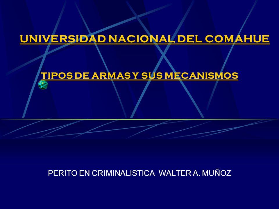 UNIVERSIDAD NACIONAL DEL COMAHUE TIPOS DE ARMAS Y SUS MECANISMOS PERITO EN CRIMINALISTICA WALTER A. MUÑOZ