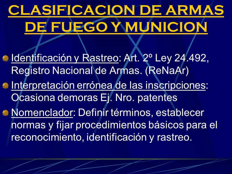 CLASIFICACION DE ARMAS DE FUEGO Y MUNICION Identificación y Rastreo: Art. 2º Ley 24.492, Registro Nacional de Armas. (ReNaAr) Interpretación errónea d
