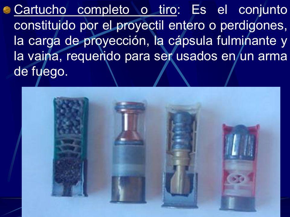 Cartucho completo o tiro: Es el conjunto constituido por el proyectil entero o perdigones, la carga de proyección, la cápsula fulminante y la vaina, r