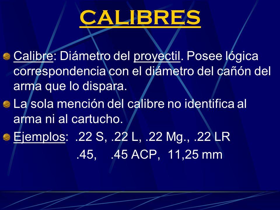CALIBRES Calibre: Diámetro del proyectil. Posee lógica correspondencia con el diámetro del cañón del arma que lo dispara. La sola mención del calibre