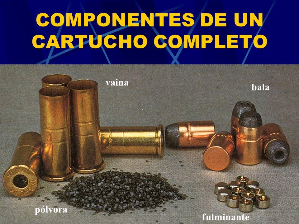 COMPONENTES DE UN CARTUCHO COMPLETO vaina bala fulminante pólvora