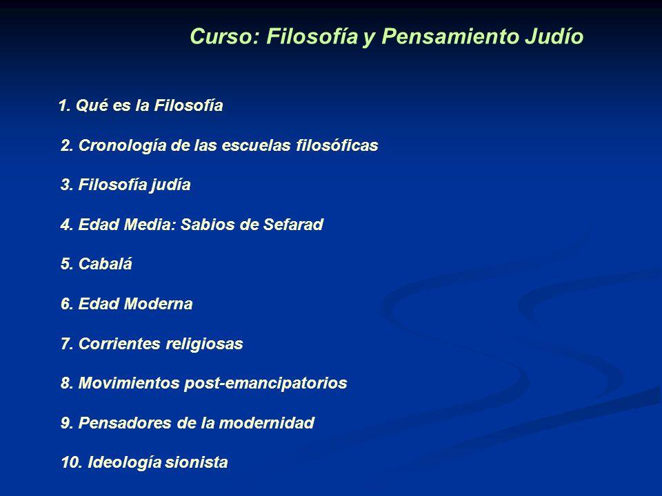 Curso: Filosofía y Pensamiento Judío 1. Qué es la Filosofía 2. Cronología de las escuelas filosóficas 3. Filosofía judía 4. Edad Media: Sabios de Sefa