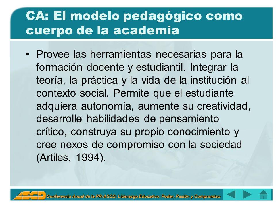 Conferencia Anual de la PR-ASCD: Liderazgo Educativo: Poder, Pasión y Compromiso CA: El modelo pedagógico como cuerpo de la academia Provee las herramientas necesarias para la formación docente y estudiantil.