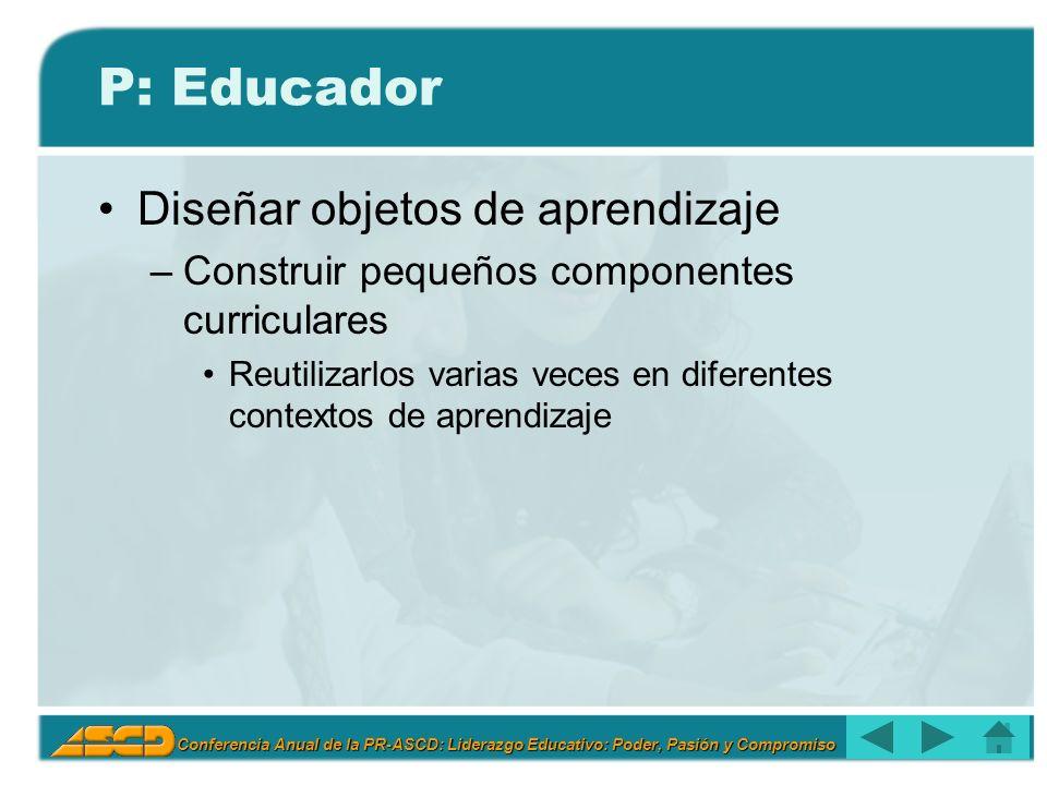 Conferencia Anual de la PR-ASCD: Liderazgo Educativo: Poder, Pasión y Compromiso P: Educador Diseñar objetos de aprendizaje –Construir pequeños componentes curriculares Reutilizarlos varias veces en diferentes contextos de aprendizaje