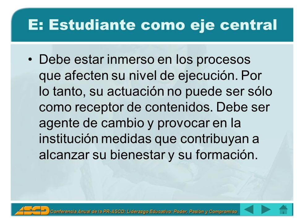 Conferencia Anual de la PR-ASCD: Liderazgo Educativo: Poder, Pasión y Compromiso E: Estudiante como eje central Debe estar inmerso en los procesos que afecten su nivel de ejecución.