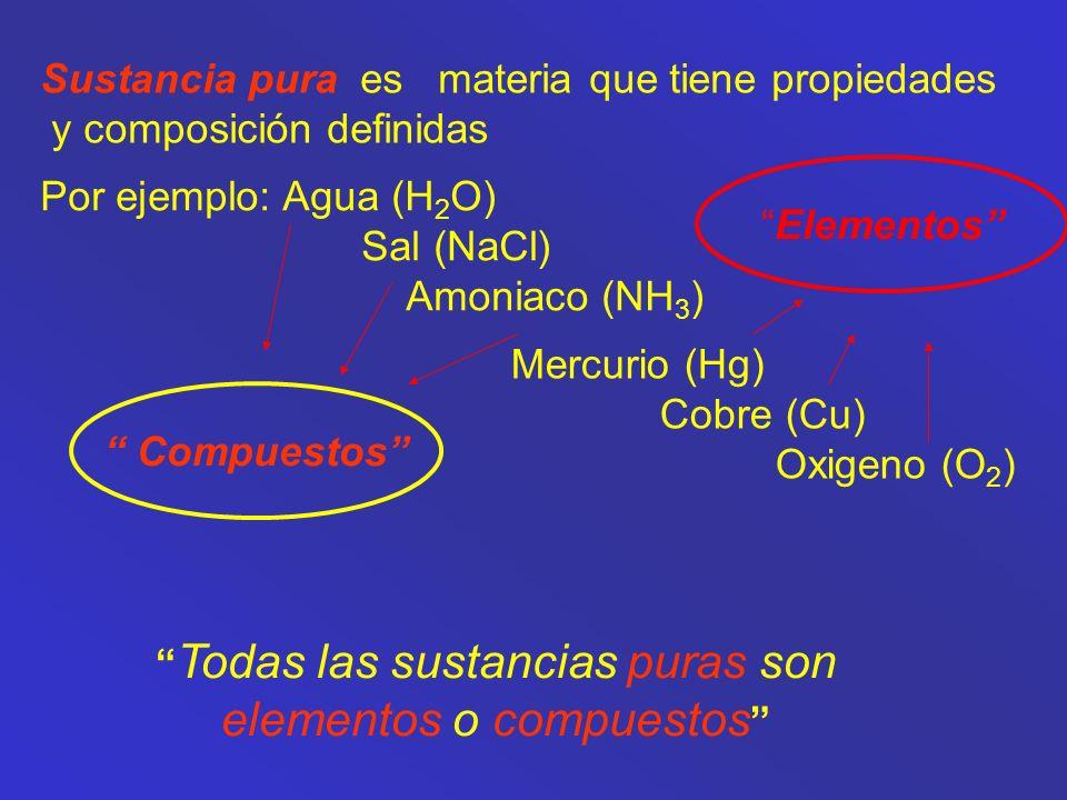 Una sustancia pura es materia que tiene una composición y propiedades físicas características.