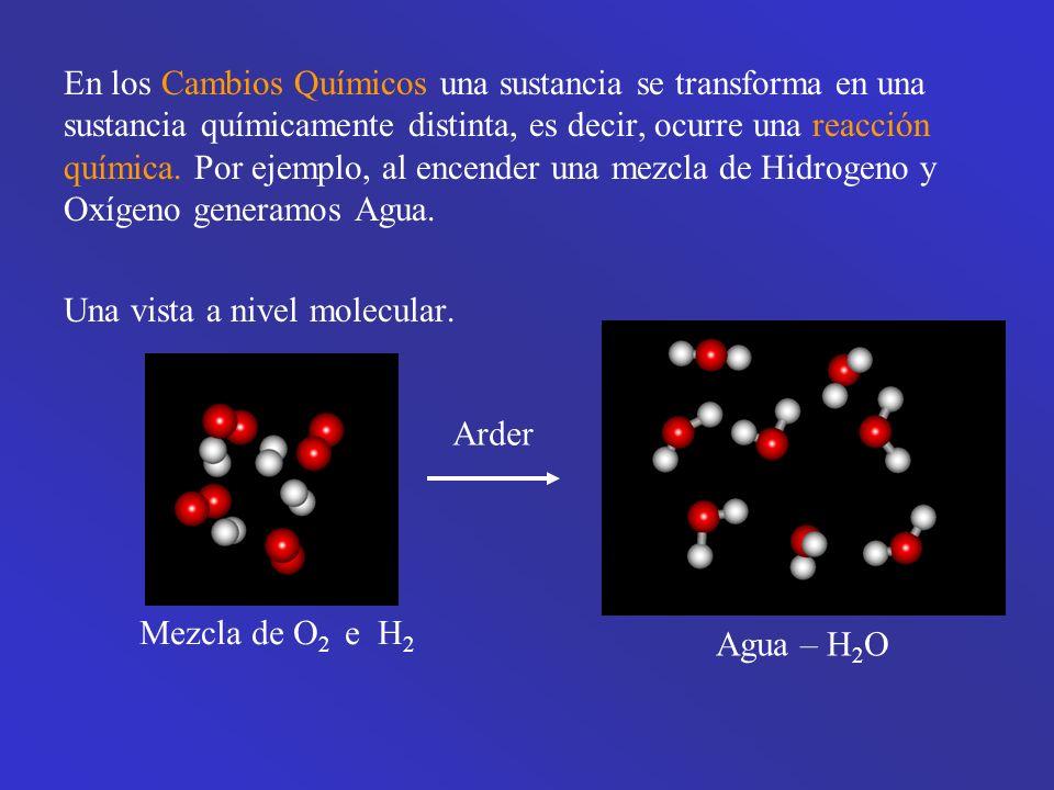 En los Cambios Químicos una sustancia se transforma en una sustancia químicamente distinta, es decir, ocurre una reacción química.