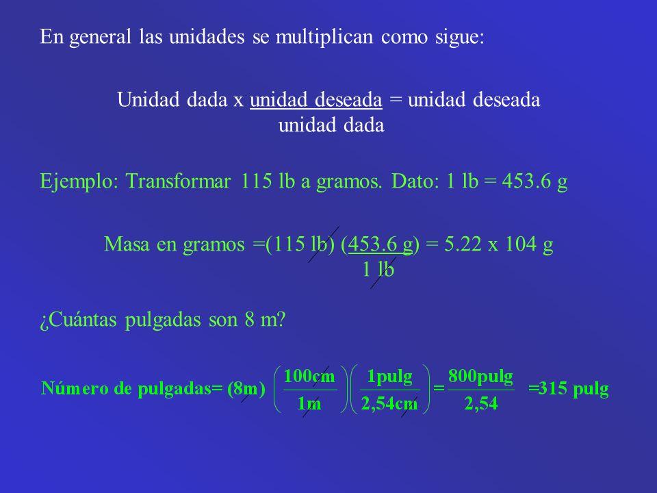En general las unidades se multiplican como sigue: Unidad dada x unidad deseada = unidad deseada unidad dada Ejemplo: Transformar 115 lb a gramos.